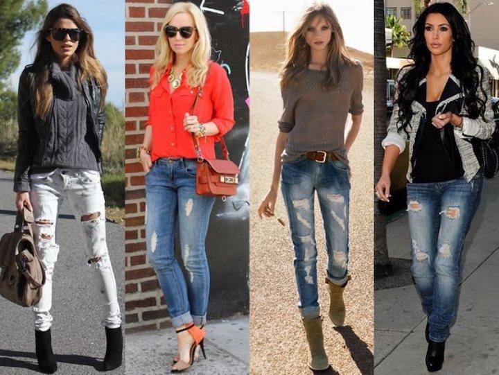 Как носить зимой рваные джинсы