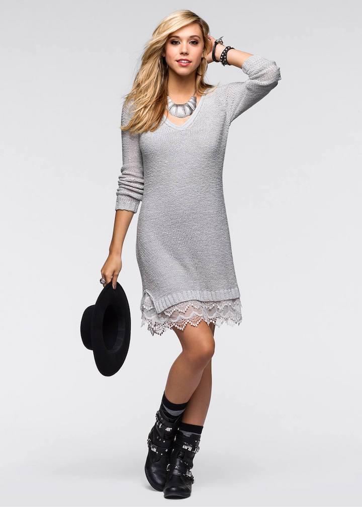 C чем носить платье-свитер