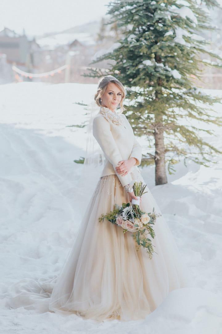 Зимняя накидка на свадебное платье